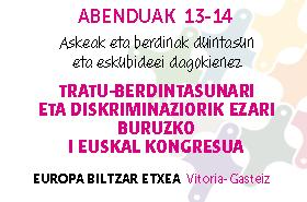 Tratu-desberdintasunari eta Diskriminaziorik Ezari Buruzko I Euskal Kongresua
